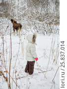 Купить «Child dressed in warm clothes looks at elk feeds in winter park», фото № 25837014, снято 25 января 2015 г. (c) Losevsky Pavel / Фотобанк Лори