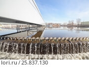 Купить «Biological wastewater treatment is carried out in aeration tanks in which water is mixed with activated sludge», фото № 25837130, снято 19 марта 2015 г. (c) Losevsky Pavel / Фотобанк Лори