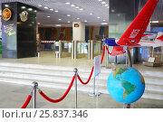 Купить «MOSCOW, RUSSIA - JUN 21, 2014: Tupolev museum interior. Scale mock-up of aircraft. Stalin route. Non-stop flight: Moscow - Udd Island - nonstop flight of Soviet aviators. Crew commander - Chkalov.», фото № 25837346, снято 21 июня 2014 г. (c) Losevsky Pavel / Фотобанк Лори