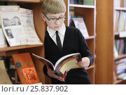 Купить «Pupil in black jacket and sunglasses read book on background of shelves with books», фото № 25837902, снято 20 марта 2015 г. (c) Losevsky Pavel / Фотобанк Лори