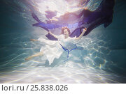 Купить «Smiling young woman in white dress poses in swimming pool with dark-blue fabric in hands underwater», фото № 25838026, снято 14 мая 2016 г. (c) Losevsky Pavel / Фотобанк Лори