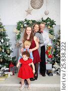 Купить «Happy mother, father, son and two daughters play near christmas trees», фото № 25838222, снято 24 декабря 2014 г. (c) Losevsky Pavel / Фотобанк Лори
