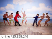 MOSCOW, RUSSIA - MAR 24, 2015: Woman and girl (with model releases) pull rope on beach in Optical Illusions Museum at VDNKh. Редакционное фото, фотограф Losevsky Pavel / Фотобанк Лори