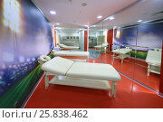 Купить «MOSCOW - DEC 25, 2014: Room for massage of football players in Spartak stadium. New stadium is included in list of objects for games will be played at 2018 World Cup», фото № 25838462, снято 25 декабря 2014 г. (c) Losevsky Pavel / Фотобанк Лори