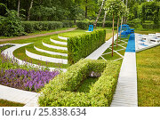 Купить «Lawn in summer park, example of landscape disign», фото № 25838634, снято 26 июня 2015 г. (c) Losevsky Pavel / Фотобанк Лори