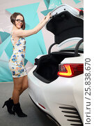 Купить «MOSCOW - FEB 14, 2015: Beautiful brunette (with model release) in glasses and dress opening white trunk of a car on Russian sixth test drive Lexus Master Class», фото № 25838670, снято 14 февраля 2015 г. (c) Losevsky Pavel / Фотобанк Лори