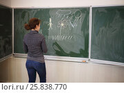 Купить «Young woman stands near blackboard with pictures in classroom, back view, focus on picture», фото № 25838770, снято 7 апреля 2016 г. (c) Losevsky Pavel / Фотобанк Лори