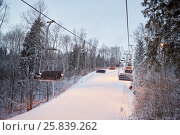 Купить «Cableway above track at ski resort in evening time», фото № 25839262, снято 27 декабря 2014 г. (c) Losevsky Pavel / Фотобанк Лори