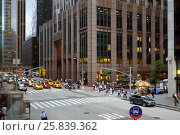 Купить «NEW YORK - August 23, 2014: people cars and Skyscrapers at 6th ave», фото № 25839362, снято 23 августа 2014 г. (c) Losevsky Pavel / Фотобанк Лори