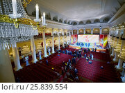 Купить «MOSCOW, RUSSIA - APR 23, 2016: Union House column hall with journalists and members of A Just Russia political party after meeting at 8th congress», фото № 25839554, снято 23 апреля 2016 г. (c) Losevsky Pavel / Фотобанк Лори