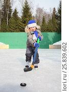 Купить «Happy little boy on skates with a hockey stick and puck», фото № 25839602, снято 21 февраля 2015 г. (c) Losevsky Pavel / Фотобанк Лори