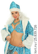 Купить «Beautiful woman in suit Snow Maiden with white curly hair isolated on white», фото № 25839726, снято 22 ноября 2014 г. (c) Losevsky Pavel / Фотобанк Лори
