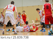 Купить «MOSCOW, RUSSIA - DECEMBER 12, 2015: Game moment in basketball match at the indoor stadium betwen CSKA and Labor Reserves teams», фото № 25839738, снято 12 декабря 2015 г. (c) Losevsky Pavel / Фотобанк Лори
