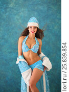 Купить «Portrait of beautiful Snow Maiden with long hair in blue shorts», фото № 25839854, снято 22 ноября 2014 г. (c) Losevsky Pavel / Фотобанк Лори