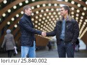 Купить «Portrait of two friends on background of lights installation main park alley, handshake», фото № 25840002, снято 25 октября 2015 г. (c) Losevsky Pavel / Фотобанк Лори