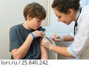 Купить «Health worker was injected drug in shoulder of boy in exam room», фото № 25840242, снято 29 ноября 2014 г. (c) Losevsky Pavel / Фотобанк Лори