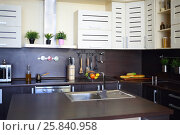 Купить «Empty kitchen with brown table with fruits, sink, modern stove», фото № 25840958, снято 4 июня 2015 г. (c) Losevsky Pavel / Фотобанк Лори