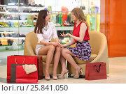 Купить «Two girls sit in leather armchairs with bags and talk in big modern mall», фото № 25841050, снято 21 апреля 2015 г. (c) Losevsky Pavel / Фотобанк Лори