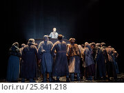 Купить «MOSCOW, RUSSIA - JAN 15, 2015: Pushkin appeals Moscow people from pulpit on Red Square in play Boris Godunov directed by Peter Stein on stage of Moscow theatre Et Cetera», фото № 25841218, снято 15 января 2015 г. (c) Losevsky Pavel / Фотобанк Лори