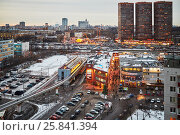 Купить «MOSCOW, RUSSIA - JAN 16, 2015: Highrise buildings and shopping centers at Dmitrovskoye highway - one of the largest highways of Moscow, it located in the north in several districts», фото № 25841394, снято 16 января 2015 г. (c) Losevsky Pavel / Фотобанк Лори