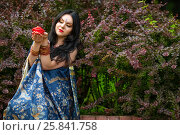 Купить «Brunette in sari among barberry bushes holding red burning candle in form of roses in hands», фото № 25841758, снято 19 июля 2015 г. (c) Losevsky Pavel / Фотобанк Лори
