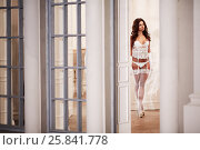 Купить «Young woman in white underwear, stockings and angel wings behind her back in room against doorway», фото № 25841778, снято 10 июня 2016 г. (c) Losevsky Pavel / Фотобанк Лори