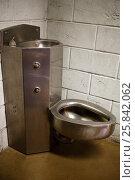 Купить «steel toilet bowl and wash basin on stone wall background», фото № 25842062, снято 1 сентября 2014 г. (c) Losevsky Pavel / Фотобанк Лори