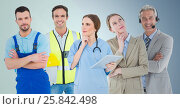 Business woman and call center man, doctor, handy man and builder against blue background. Стоковое фото, агентство Wavebreak Media / Фотобанк Лори