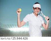Купить «Tennis player against stadium with bright lights and blue sky», фото № 25844426, снято 21 марта 2019 г. (c) Wavebreak Media / Фотобанк Лори