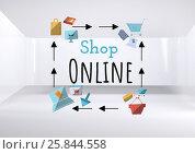 Shop Online text with drawings graphics. Стоковая иллюстрация, агентство Wavebreak Media / Фотобанк Лори