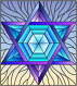 Illustration in stained glass style with an abstract six-pointed blue star on a sky background, иллюстрация № 25844570 (c) Наталья Загорий / Фотобанк Лори