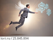 Купить «Angel investor concept with businessman with wings», фото № 25845894, снято 17 ноября 2018 г. (c) Elnur / Фотобанк Лори