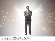 Купить «Angel investor concept with businessman with wings», фото № 25846574, снято 20 августа 2018 г. (c) Elnur / Фотобанк Лори