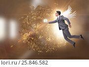 Купить «Angel investor concept with businessman with wings», фото № 25846582, снято 20 августа 2018 г. (c) Elnur / Фотобанк Лори