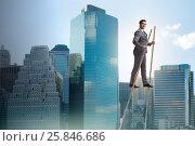 Купить «Businessman walking on stilts - standing out from the crowd», фото № 25846686, снято 23 февраля 2019 г. (c) Elnur / Фотобанк Лори