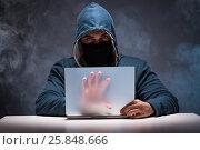 Купить «Computer hacker working in dark room», фото № 25848666, снято 2 декабря 2016 г. (c) Elnur / Фотобанк Лори