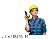 Young woman in industrial concept isolated on white. Стоковое фото, фотограф Elnur / Фотобанк Лори