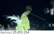 Купить «Young beautiful woman in yellow dress posing underwater with Tawny nurse sharks (Nebrius ferrugineus), night shooting, Indian Ocean, Maldives», видеоролик № 25855254, снято 27 марта 2017 г. (c) Некрасов Андрей / Фотобанк Лори