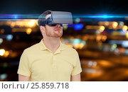 Купить «man in virtual reality headset or 3d glasses», фото № 25859718, снято 12 марта 2016 г. (c) Syda Productions / Фотобанк Лори