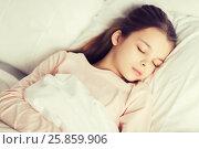 Купить «girl sleeping in bed at home», фото № 25859906, снято 6 декабря 2015 г. (c) Syda Productions / Фотобанк Лори
