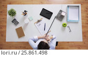 Купить «businesswoman calling on phone at office desk», видеоролик № 25861498, снято 23 марта 2017 г. (c) Syda Productions / Фотобанк Лори