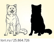 Купить «Sitting dog contour line on white», иллюстрация № 25864726 (c) Анастасия Некрасова / Фотобанк Лори