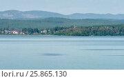 Купить «Place of meteorite fall. Chebarkul lake. Mountain forest. Panorama. Gray sky. Small fog. Haze.», видеоролик № 25865130, снято 15 марта 2017 г. (c) Вячеслав Позднышев / Фотобанк Лори