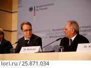 Купить «Jens Weidmann, Bundesbankpräsident, looking at the camera.side Wolfgang Schaeuble (CDU), Federal Minister of Finance.Berlin, 18. Maerz 2013. Pressekonferenz...», фото № 25871034, снято 20 июля 2019 г. (c) age Fotostock / Фотобанк Лори