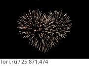 Купить «heart shaped fireworks at night», фото № 25871474, снято 18 февраля 2015 г. (c) Syda Productions / Фотобанк Лори