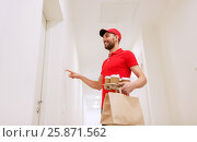 Купить «delivery man with coffee and food ringing doorbell», фото № 25871562, снято 3 декабря 2016 г. (c) Syda Productions / Фотобанк Лори