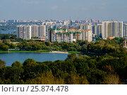 Купить «Москва, вид сверху на Борисовские пруды и жилую застройку в районе Братеево», фото № 25874478, снято 12 сентября 2016 г. (c) glokaya_kuzdra / Фотобанк Лори