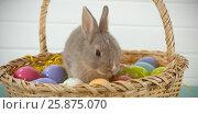 Купить «Colorful Easter eggs and Easter bunny in wicker basket», фото № 25875070, снято 9 декабря 2018 г. (c) Wavebreak Media / Фотобанк Лори