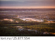 Купить «Dawn mist over the forest and village, Russia», фото № 25877554, снято 20 июля 2018 г. (c) Ирина Мойсеева / Фотобанк Лори
