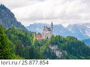 Купить «Original view of world-famous Neuschwanstein Castle, Germany, European landmark», фото № 25877854, снято 6 июня 2016 г. (c) Юрий Дмитриенко / Фотобанк Лори